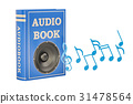 Book with loudspeaker and music notes, audiobook 31478564
