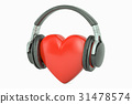 Red heart with headphones, favorite music concept 31478574