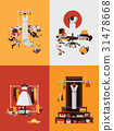 Vector set with bright interiors of boutique 31478668