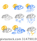 Set of weather icons in hand drawn style 31479019