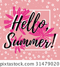 Hello Summer. Welcoming card with lettering 31479020