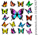 Colorful butterflies set. Vector. 31482467