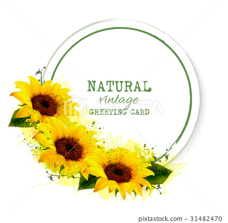 Nature vintage greeting card with yellow sunflower 31482470