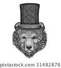Brown bear Russian bear wearing cylinder top hat 31482876