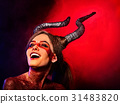 Mad satan woman aggressive cry in hell . Witch 31483820