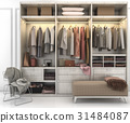 minimal scandinavian wood walk in closet wardrobe 31484087