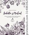Wedding invitation with flowers. 31486362