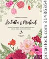 Wedding invitation with flowers. 31486364