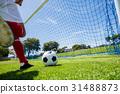 Football player scoring a goal 31488873