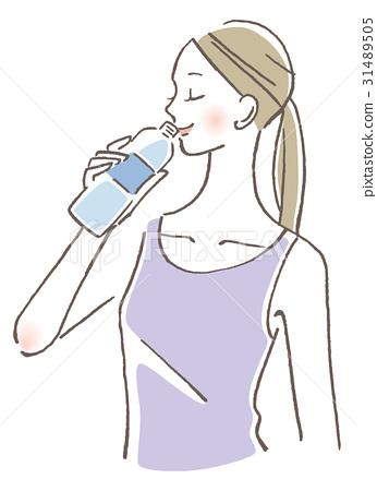 一個女人喝水 31489505