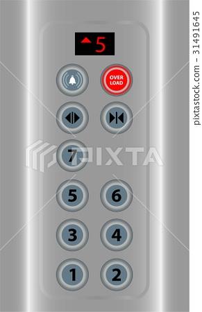 Red sign overload alert in elevator 31491645