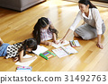 Mom is smiling and helping her daughters doing homework. 31492763