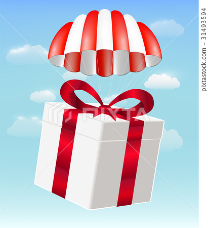 gift box with parachute on sky background 31493594