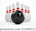 3D rendering bowling ball and pins over white 31496422