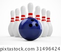 3D rendering bowling ball and pins over white 31496424