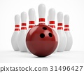 3D rendering bowling ball and pins over white 31496427