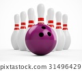 3D rendering bowling ball and pins over white 31496429