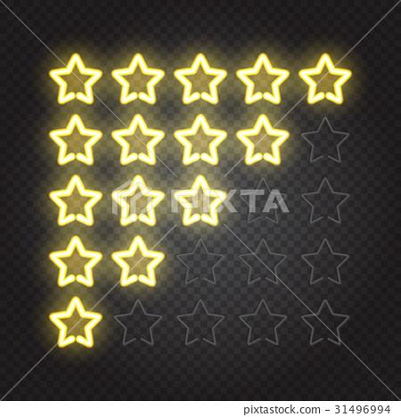 Glowing yellow neon lights 5 stars rating 31496994