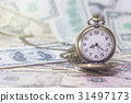 Classic pocket watch on dollar banknote 31497173
