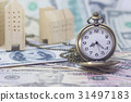 pocket watch and home model on dollar banknote 31497183