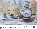 pocket watch and home model on dollar banknote 31497188