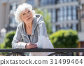 woman, rest, fence 31499464