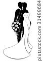 Bride and Groom Bouquet Wedding Silhouette 31499684