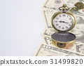 Classic pocket watch on dollar banknote 31499820