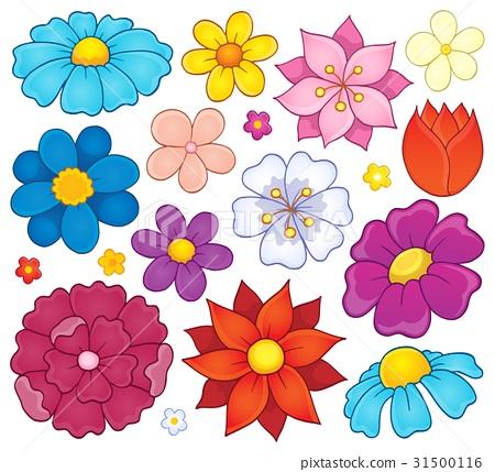 Stylized flower heads theme set 1 31500116