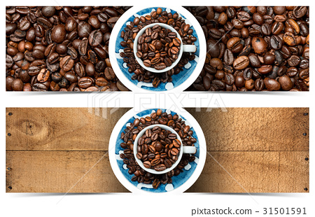 Banners with Roasted Coffee Beans and Cup 31501591