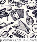 Musical Instruments - one color hand drawn 31502428