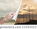 hand opening page oil industry to wind turbines. 31503022