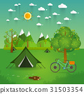 landscape.Hiking and camping. Vector flat  31503354