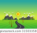 Road in green valley, mountains, hills, clouds 31503358