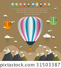 hot air balloon in the sky over moutain 31503387