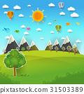 Mountain landscape on pop up paper cut style 31503389