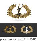 olive branch with thunder symbol of greek god zeus 31503504