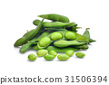 pile of green edamame beans isolated on white  31506394
