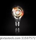 Light bulb gears inside, futuristic electronic 31507572