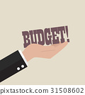Big hand holding budget word 31508602
