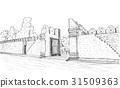sketch of old gate Tha Phae gate in Thailand 31509363