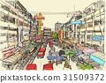 sketch city scape Thai local market place  31509372