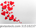 Wooden white background with red hearts.  31510237