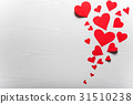 Wooden white background with red hearts.  31510238