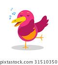 Colorful cartoon bird character in geometric shape 31510350