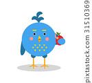 Blue cartoon bird character in geometric shape 31510369
