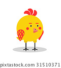 Funny chicken bird character in geometric shape 31510371