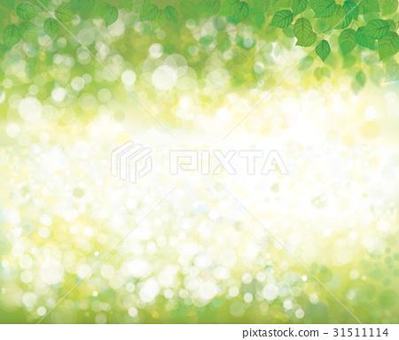 Vector green leaves on  spring, bokeh banner. 31511114