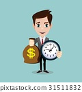 Man holding a money bag and a clock. 31511832