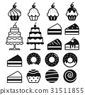 Bakery cakes icons set. Vector illustration. 31511855